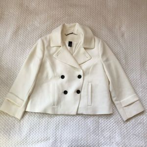 WHBM Winter White and Black Button Blazer 6